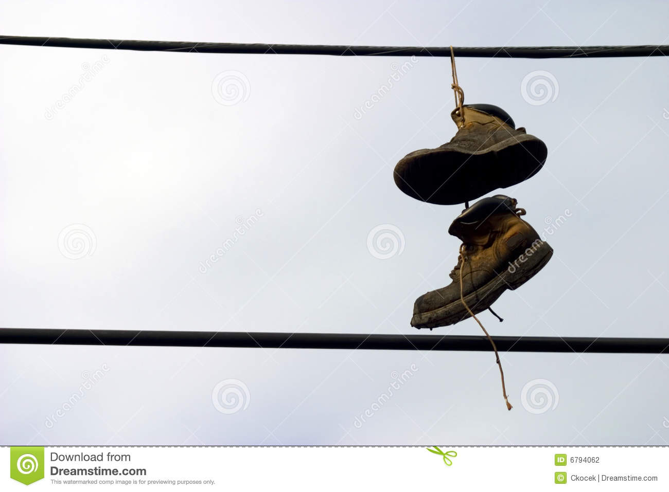 Shoes Hanging Telephone Wire Stock Images - 45 Photos