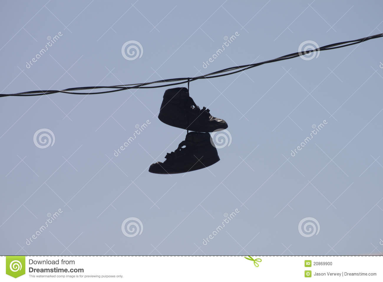 Shoes hanging on wire stock photo image of blue outdoor for Hang photos from wire