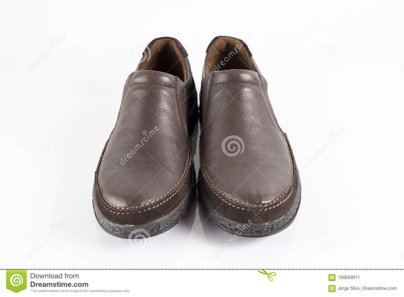 Beautiful Elegance and Luxury Male Brown Shoe on White Background