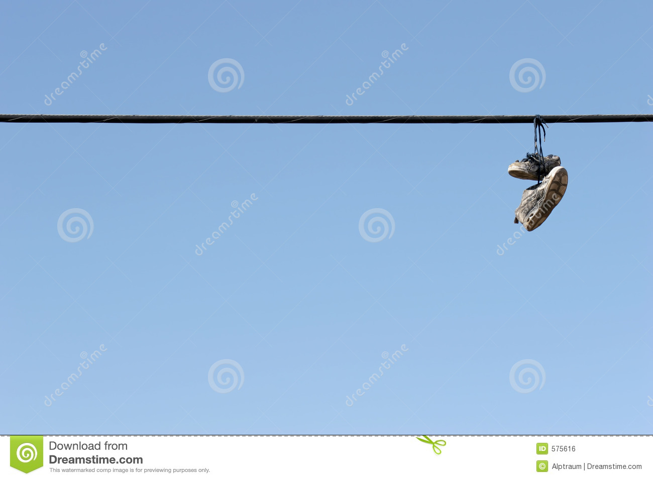 pair of shoes hang from power lines above Hayes Street. Photo by