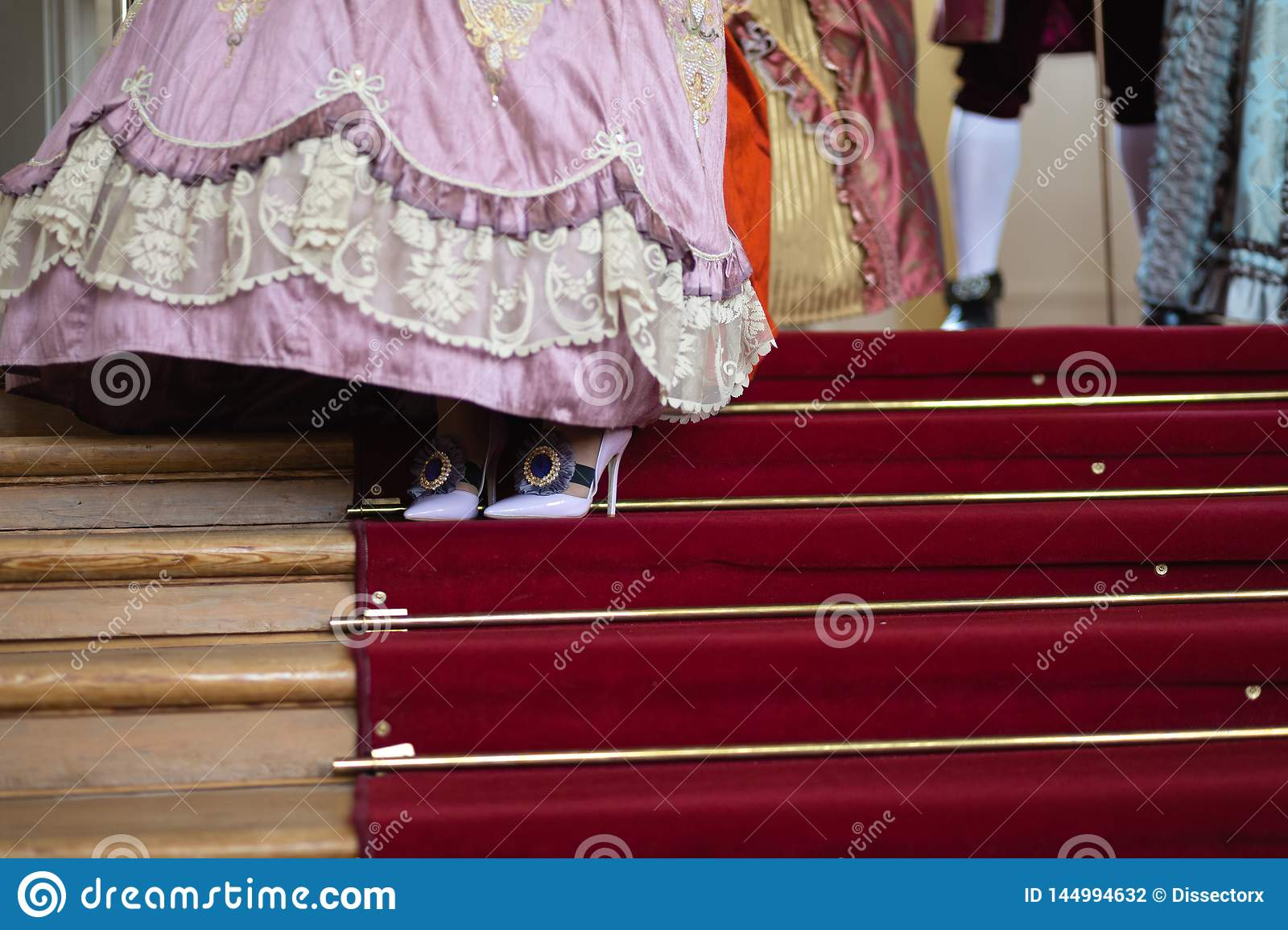 Shoes - Retro style royal medieval ball - Majestic palace with gorgeous people dressed in king and queen`s friends