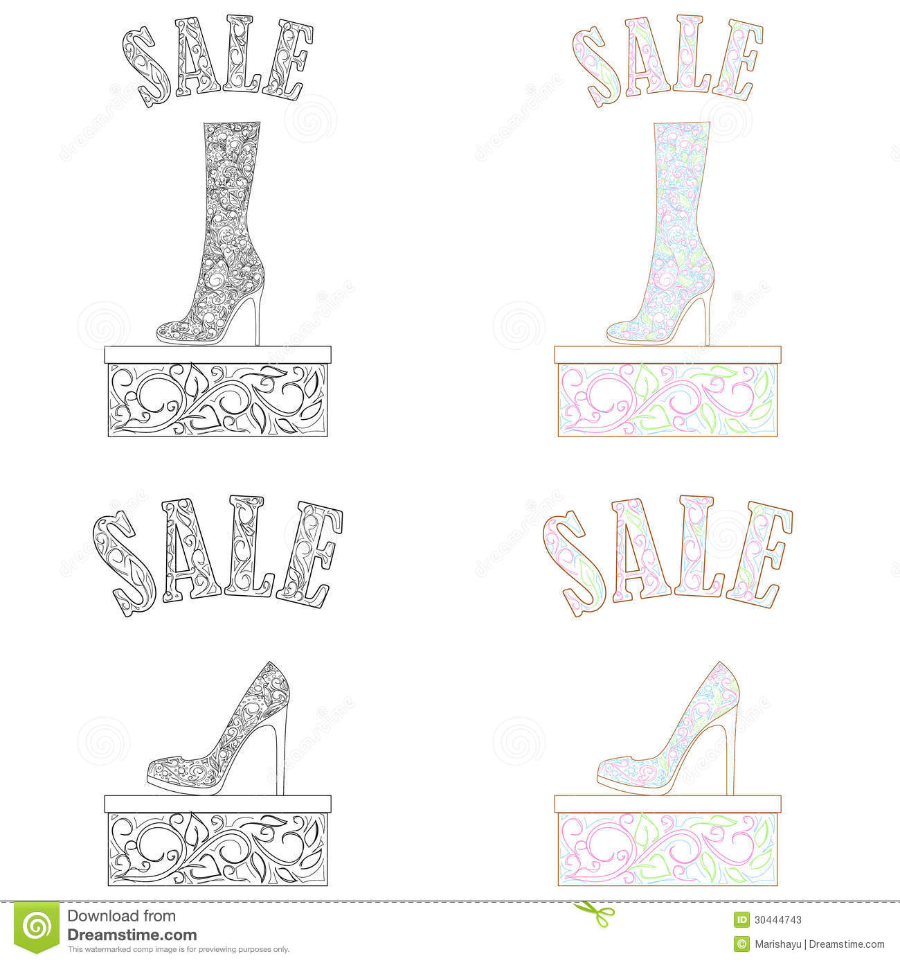 Vector set of shoes sale background
