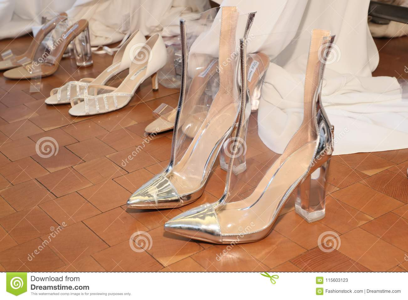 3c94d8928974 NEW YORK, NY - APRIL 13: Shoes are seen backstage before the Justin  Alexander Spring 2019 Bridal Fashion show on April 13, 2018 in New York  City.