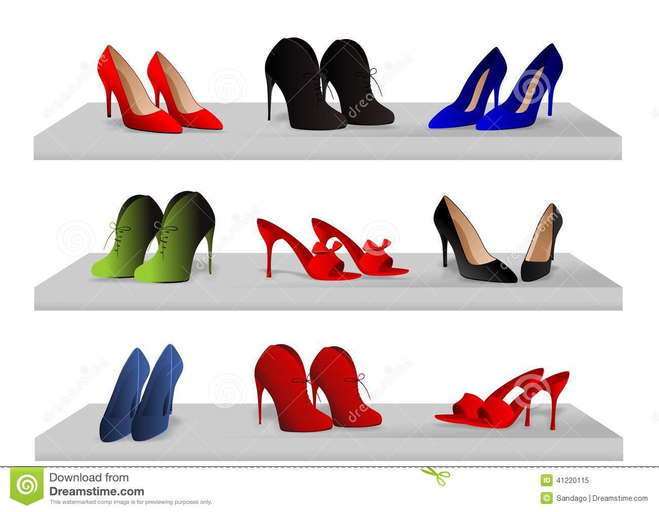 Shoes On Shelves Stock Vector Image 41220115
