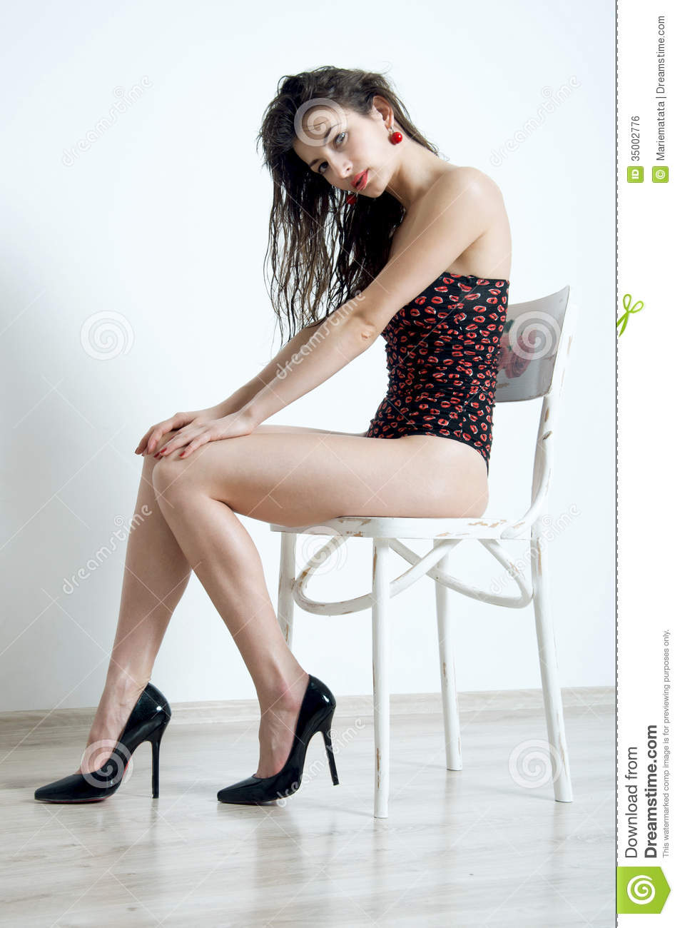 Shoes and slim long legs stock photo. Image of hand ...