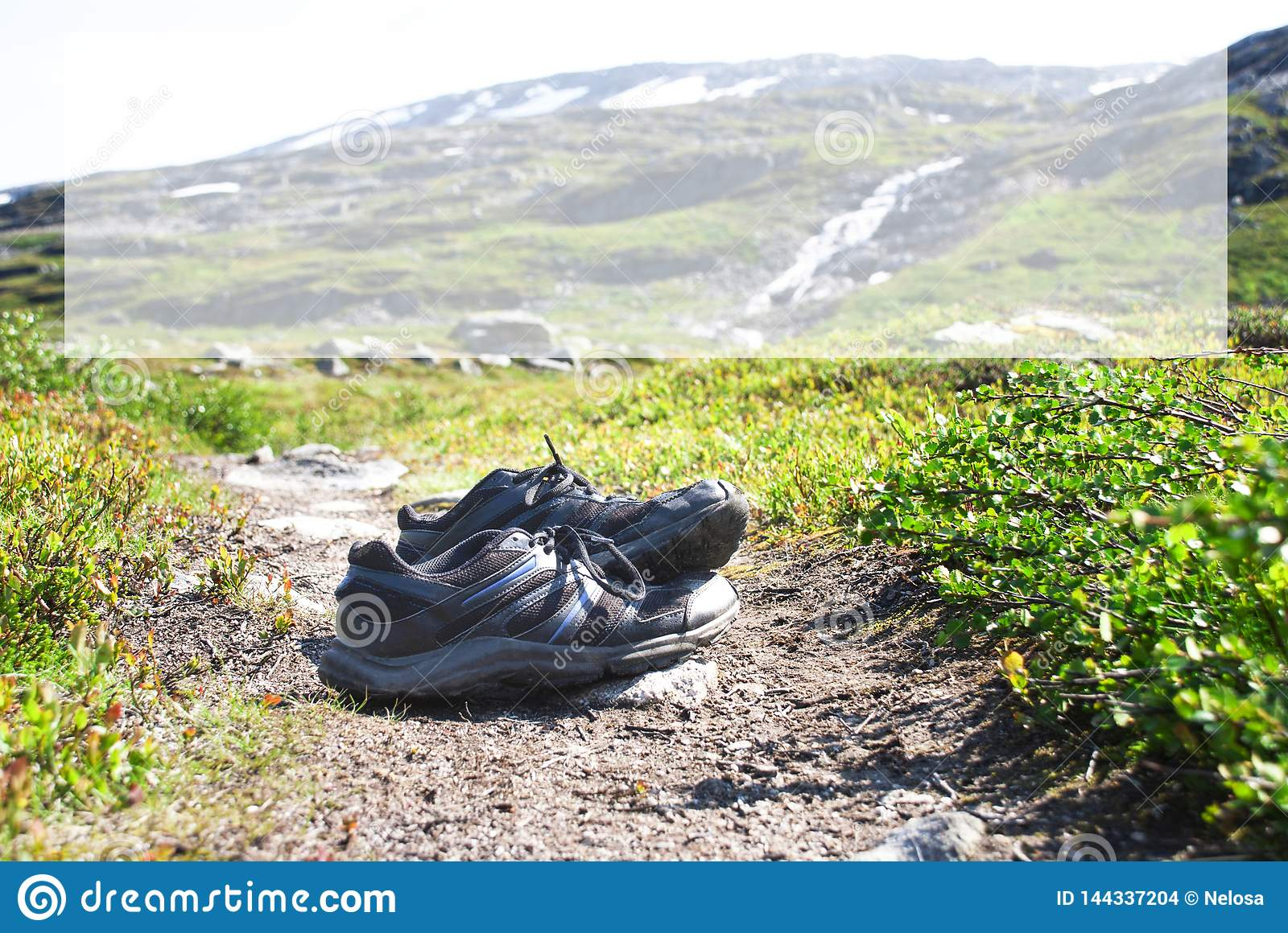 Shoes On Trekking Path, Copy Space, Norway Mountain
