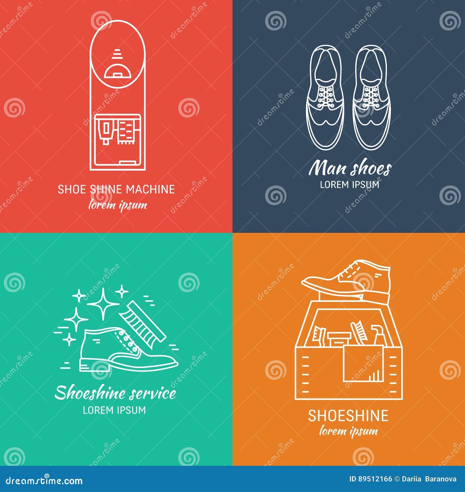 shoeshine logo design stock vector illustration of flat 89512166