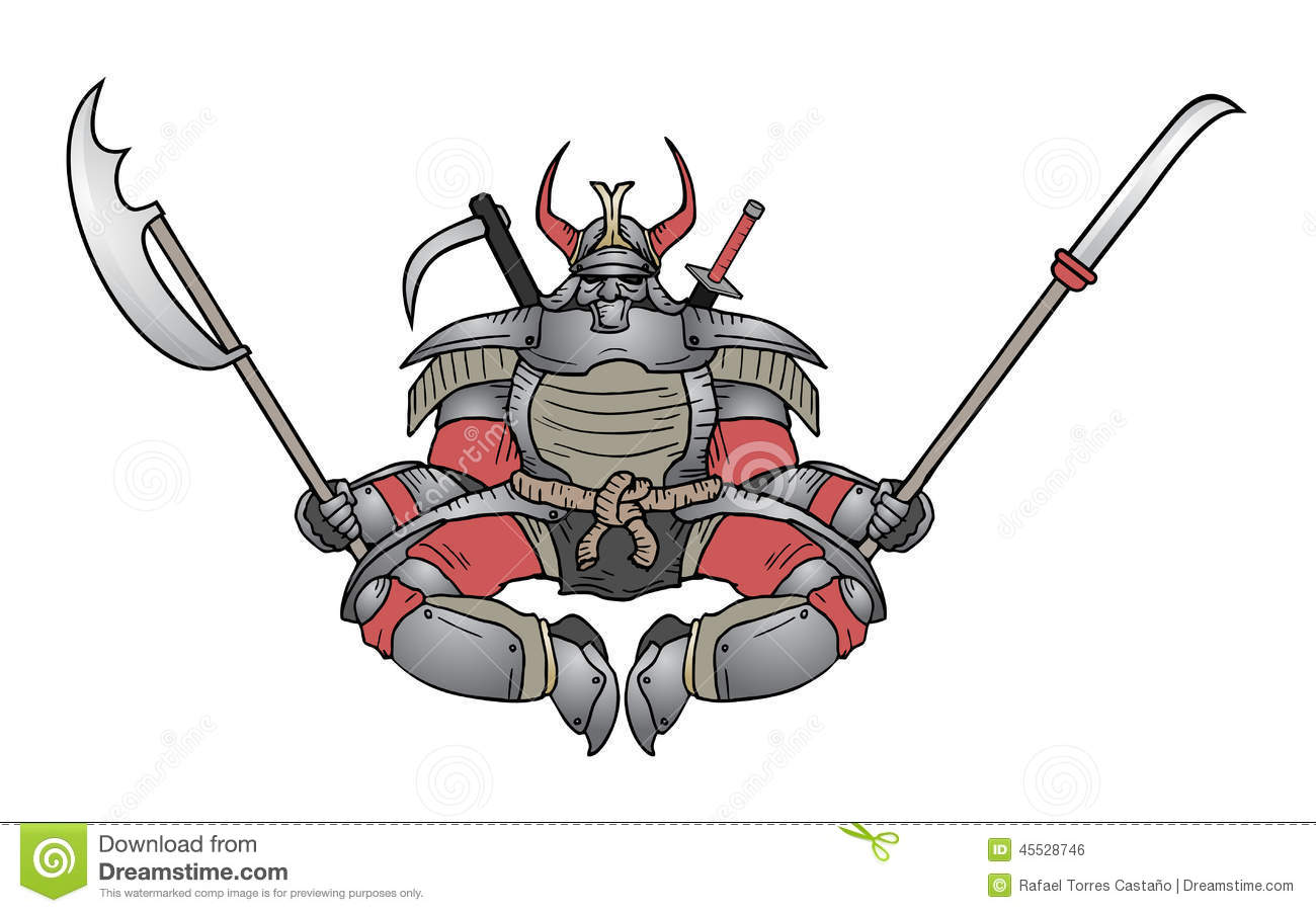 Shogun ninja stock vector image of head graphic angry