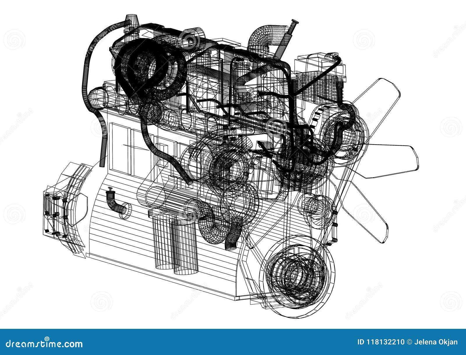 Car Engine Blueprint Isolated Stock Illustration Illustration Of Motor Drawing 118132210