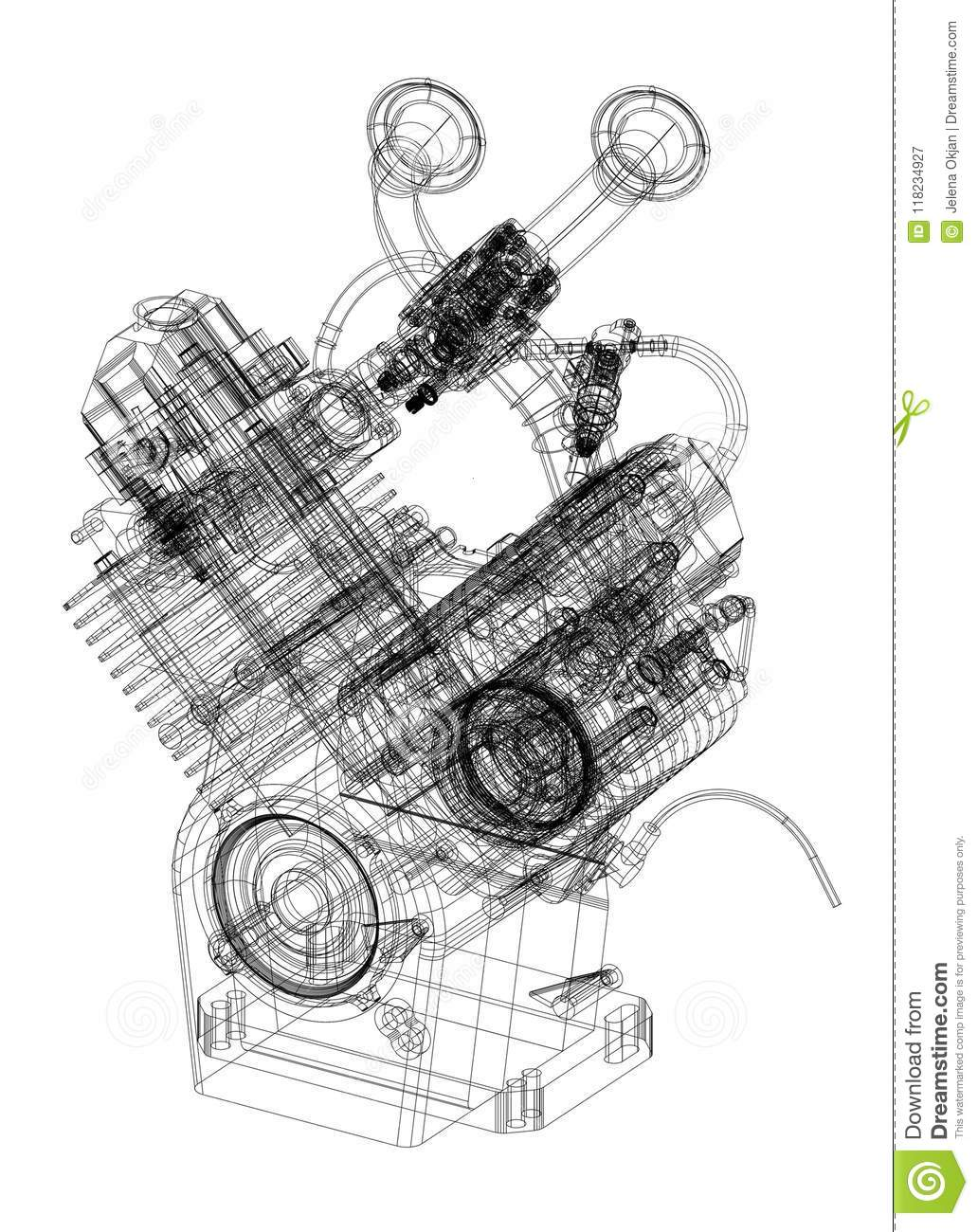 Download Car Engine Blueprint   Isolated Stock Illustration   Illustration  Of Gear, Architecture: 118234927
