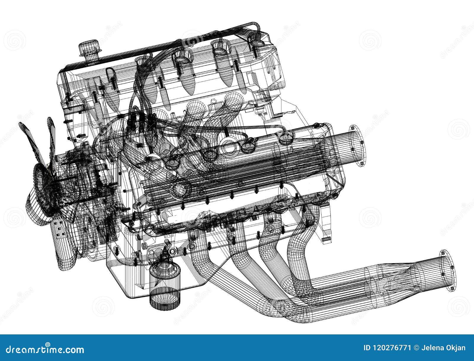 Car Engine Design Architect Blueprint - isolated