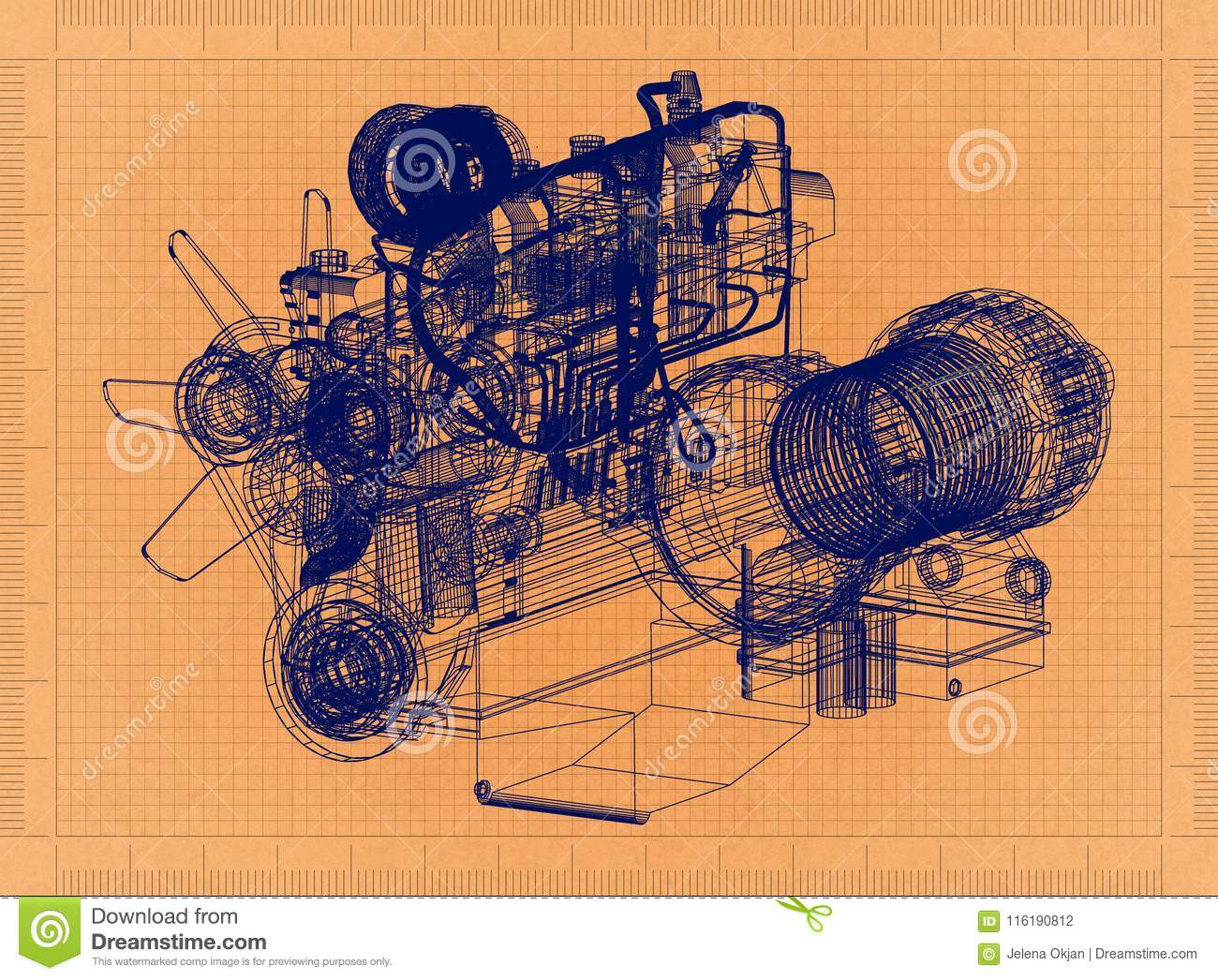 Car Engine Retro Blueprint Stock Illustration Of Diagram