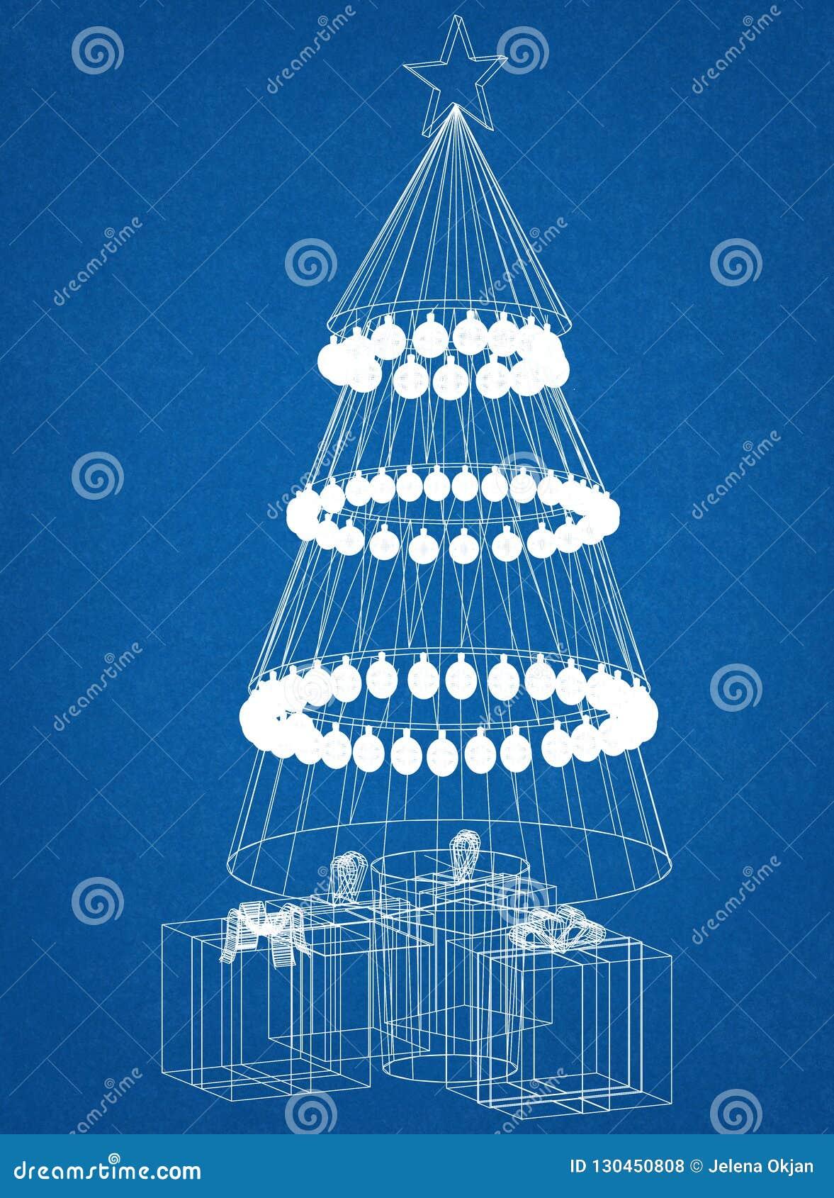 Christmas Tree Blueprint - isolated