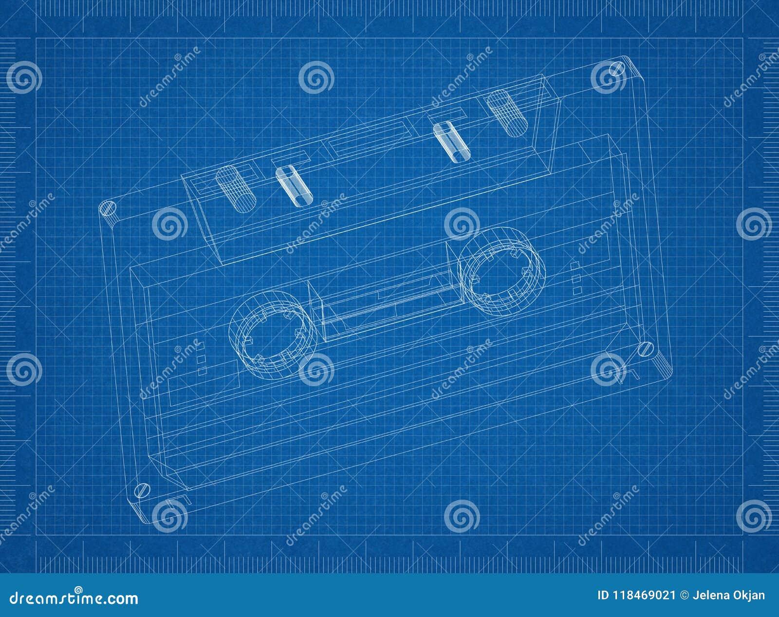 compact audio cassette architect blueprint