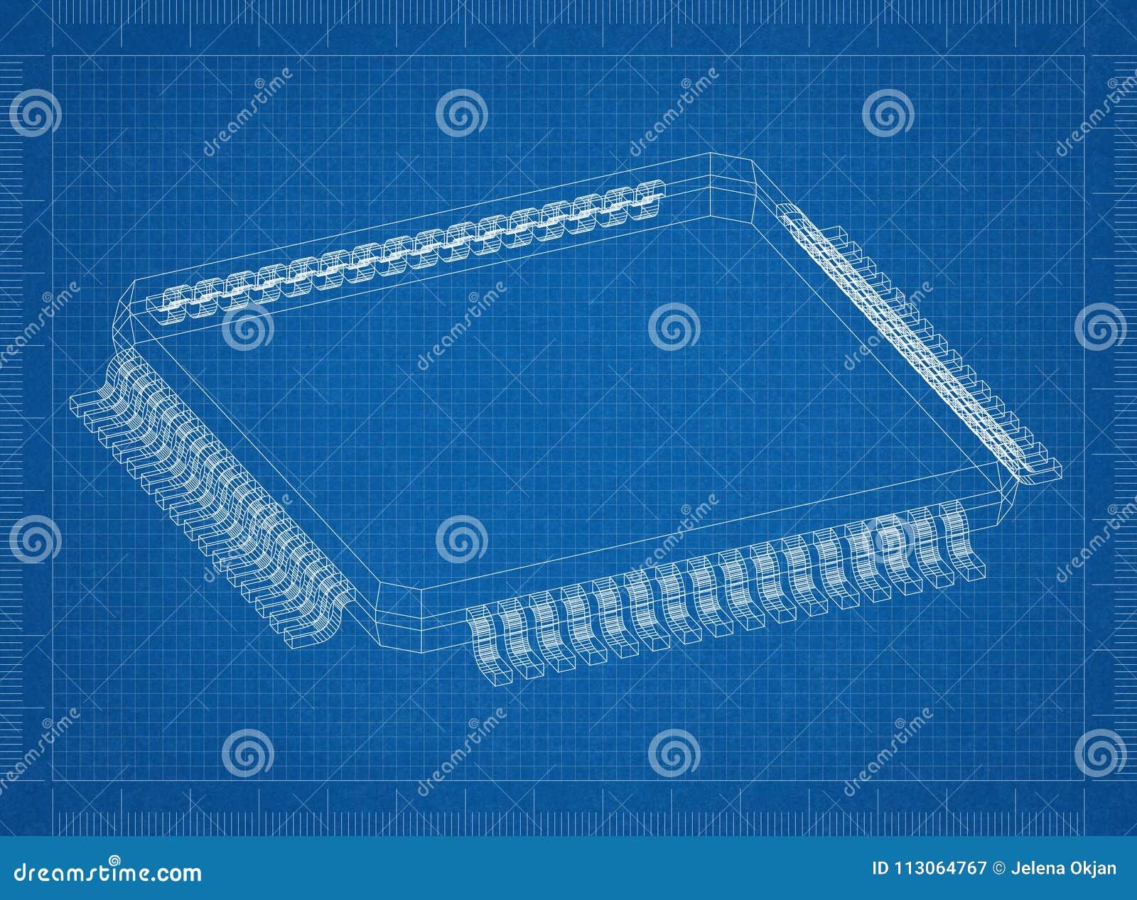 Computer Chip 3D Blueprint - Stock Image - Image of hardware
