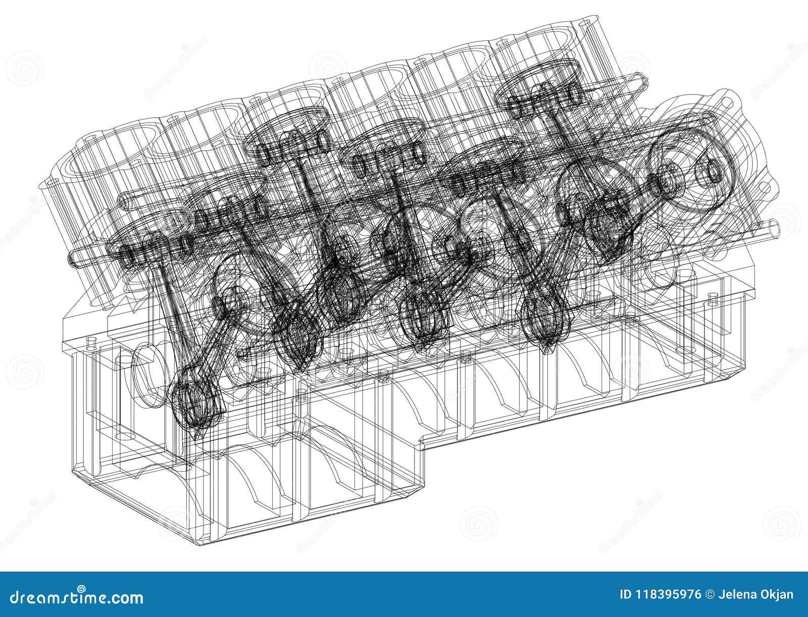 Engine Pistons Architect Blueprint Isolated Stock Illustration Diagram Schedule