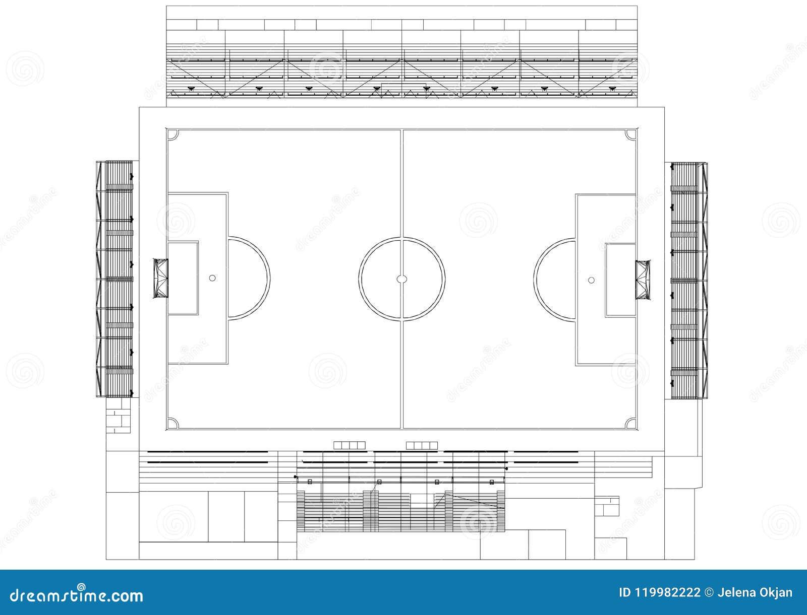 football field architect blueprint isolated stock illustration
