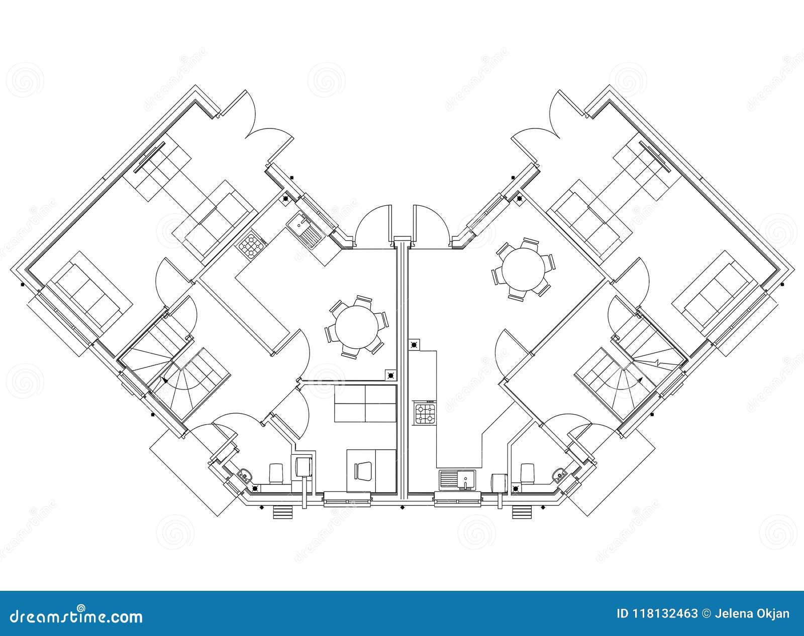 House Layout Design Blueprint Isolated Stock Illustration