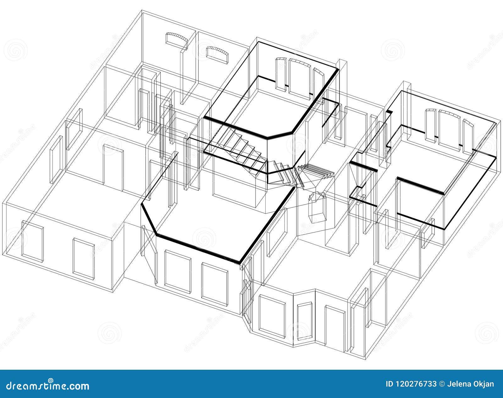 house plan architect blueprint isolated stock illustration