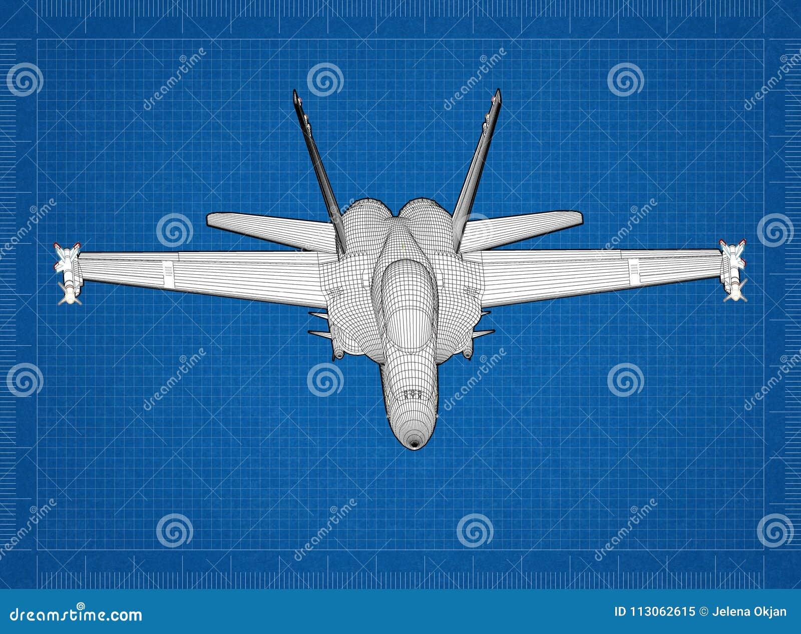 Military Plane 3D Blueprint Stock Image - Image of blue, machine