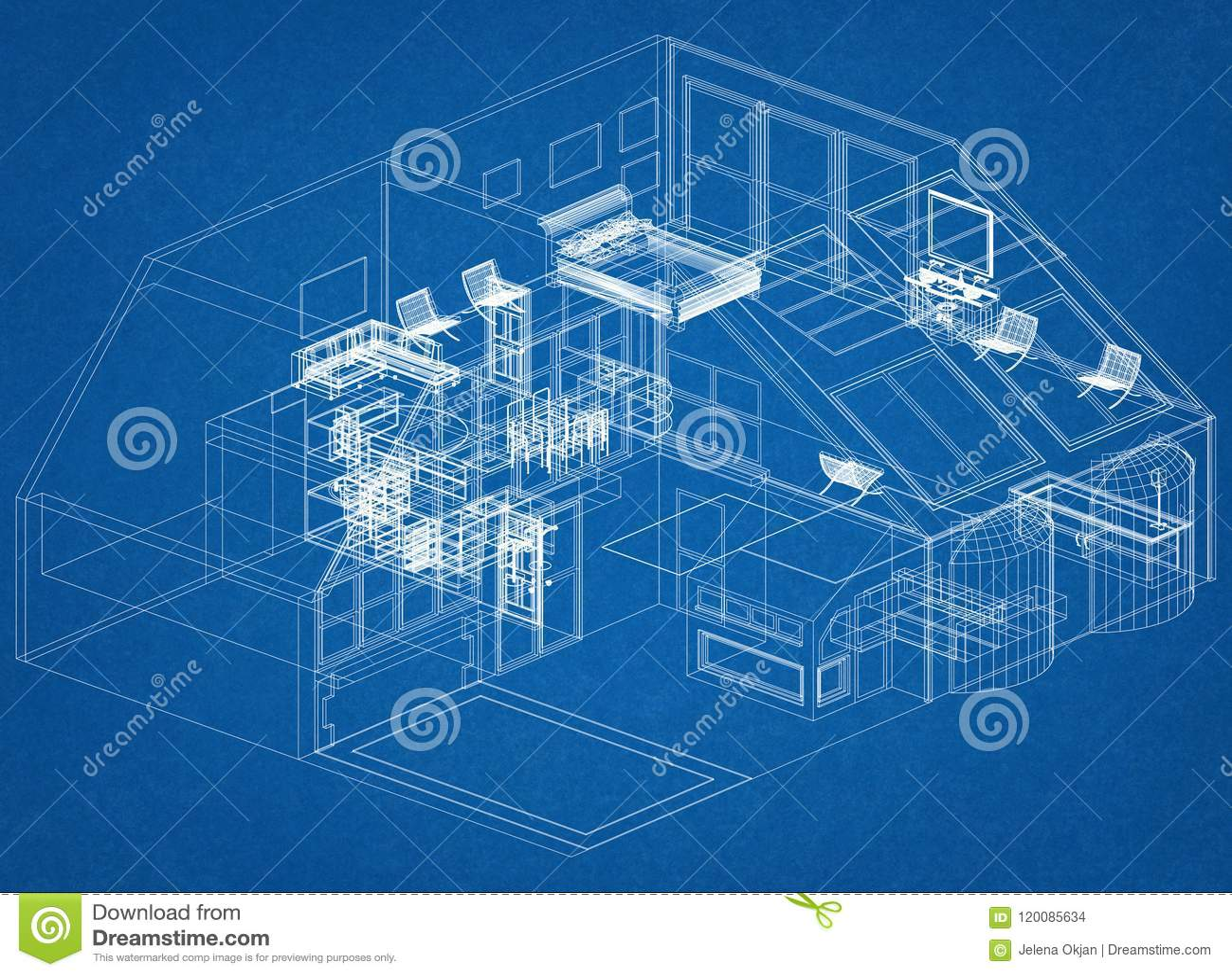 modern architecture blueprints high resolution modern house design architect blueprint stock illustration
