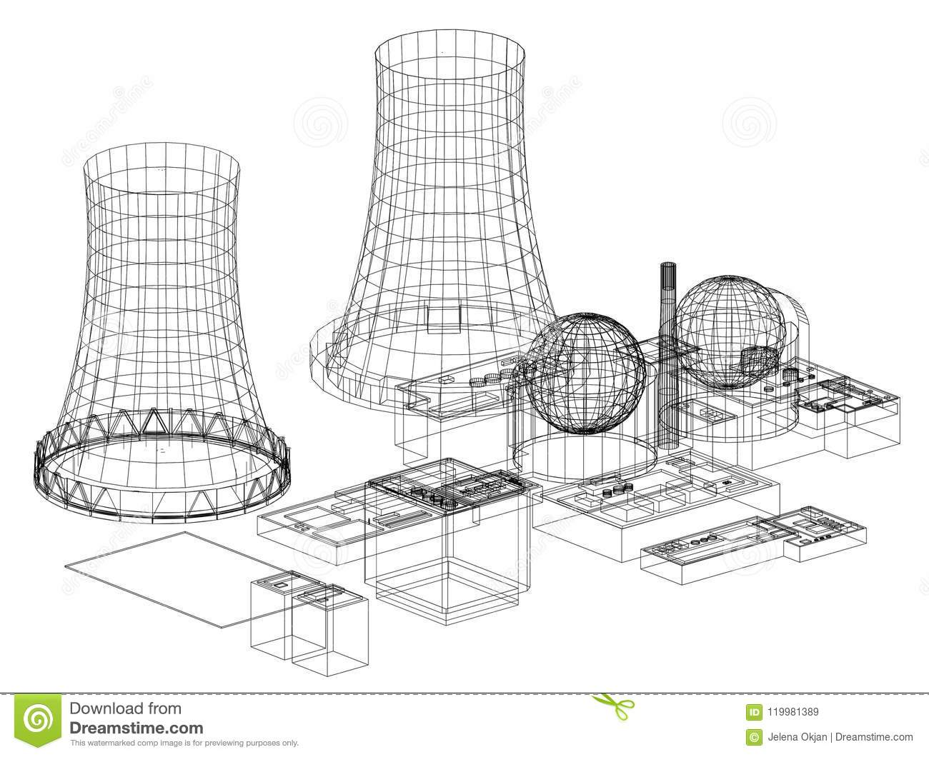 Nuclear Power Plant Reactor Architect Blueprint Isolated With Diagram Download Stock Illustration Of