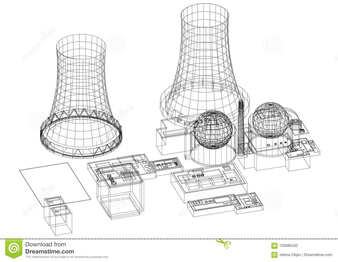 Nuclear Power Plant Reactor Architect Blueprint Isolated Stock