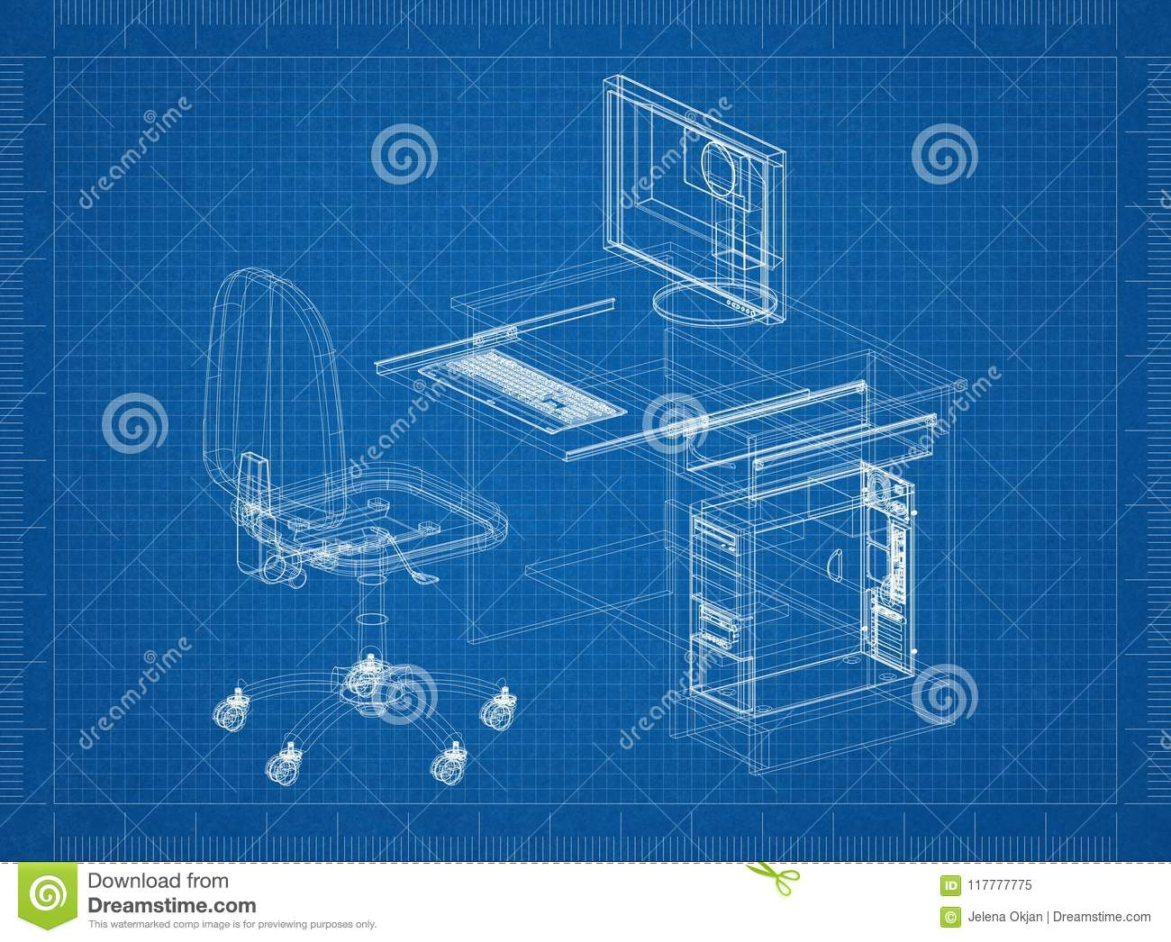 Office desk with computer architect blueprint stock illustration download office desk with computer architect blueprint stock illustration illustration of background paper malvernweather Images