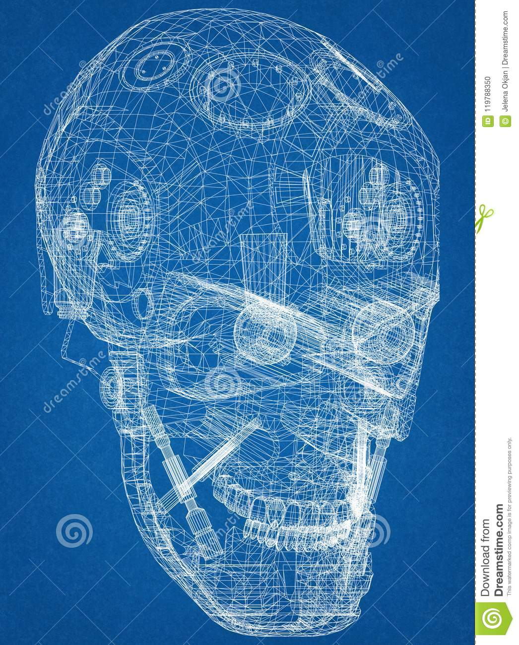Robot Head Design Architect Blueprint