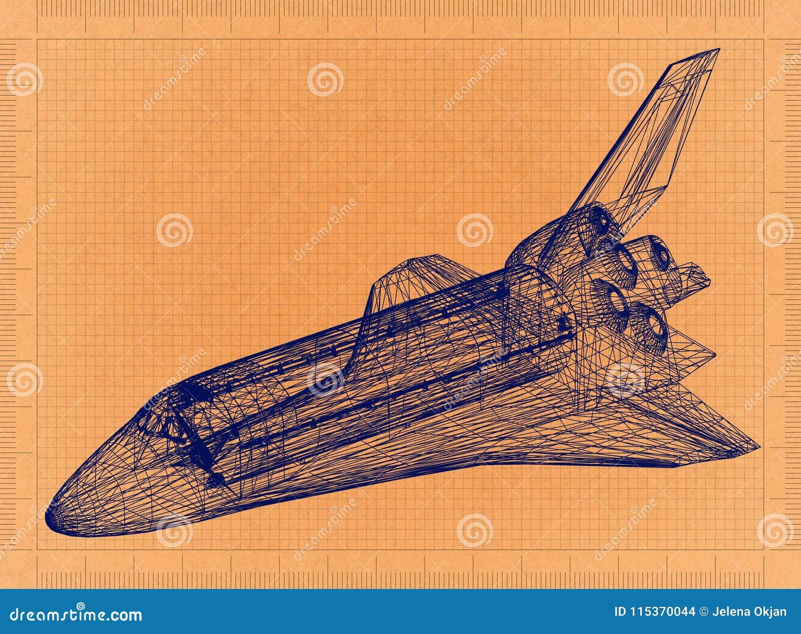 Space Shuttle - Retro Blueprint
