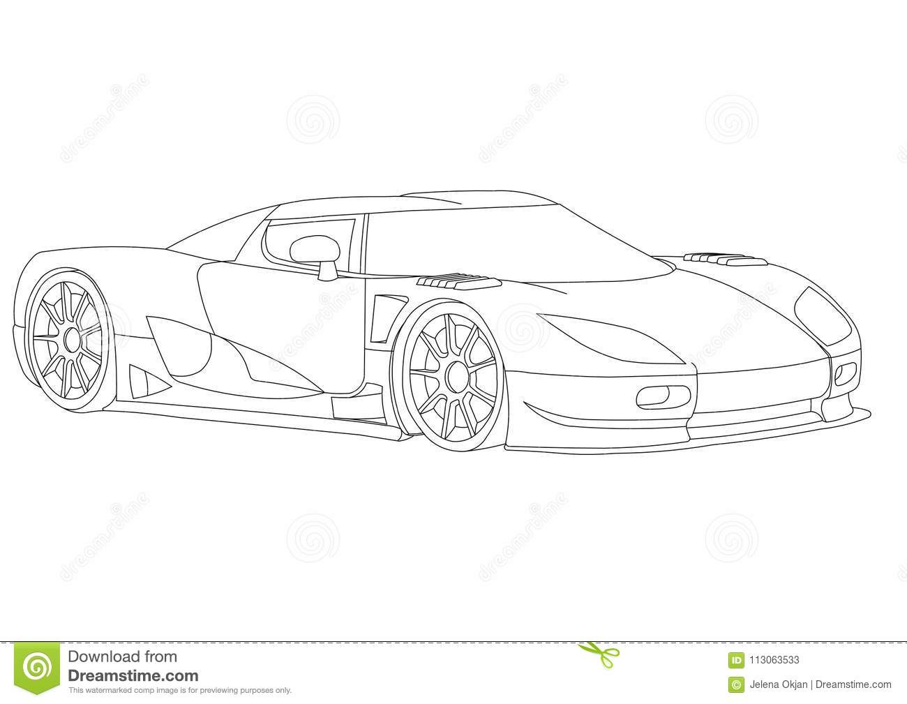 Shoot of the sport car 3d blueprint isolated