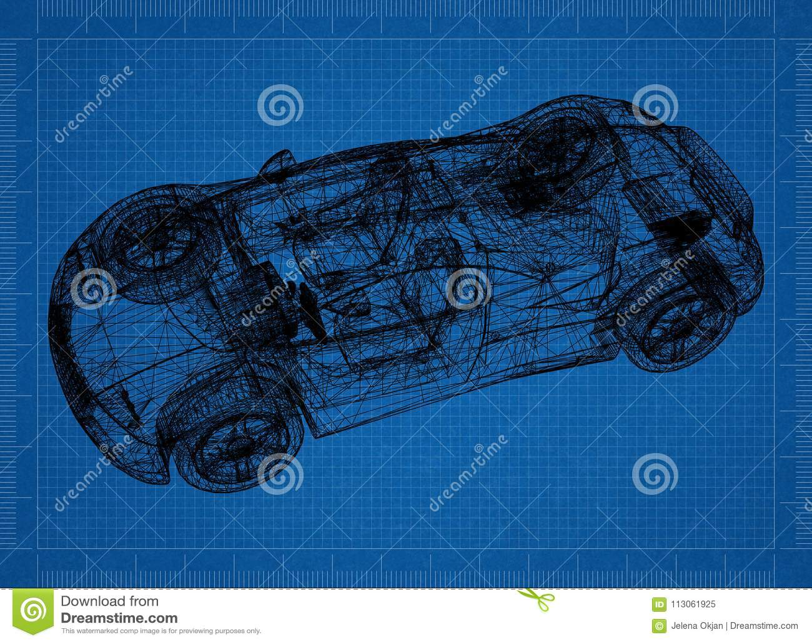 Sports car 3d blueprint stock illustration illustration of royalty free stock photo malvernweather Choice Image