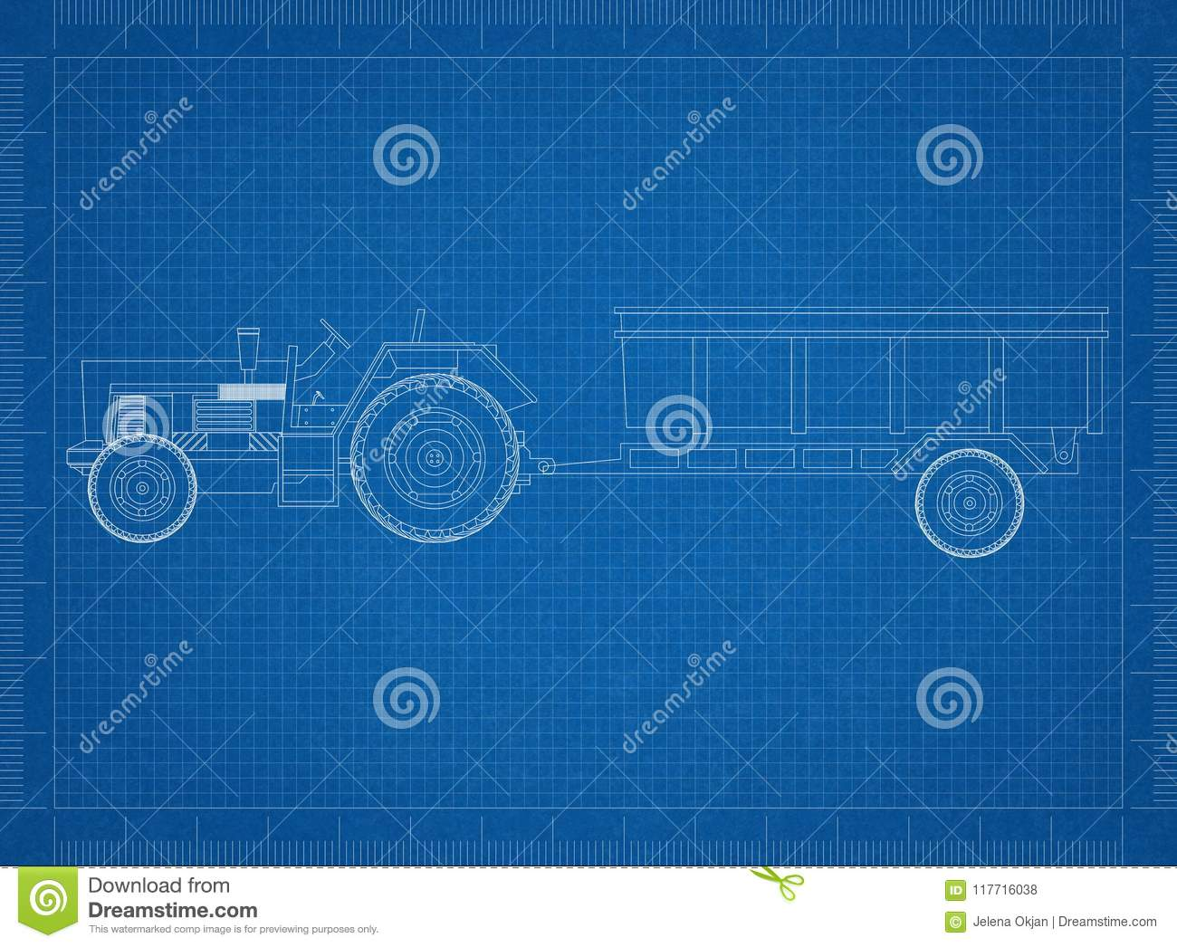 Tractor with trailer blueprint stock illustration illustration of download comp malvernweather Gallery