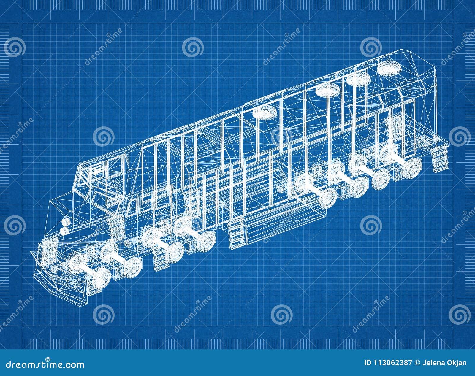 Train locomotive 3D blueprint