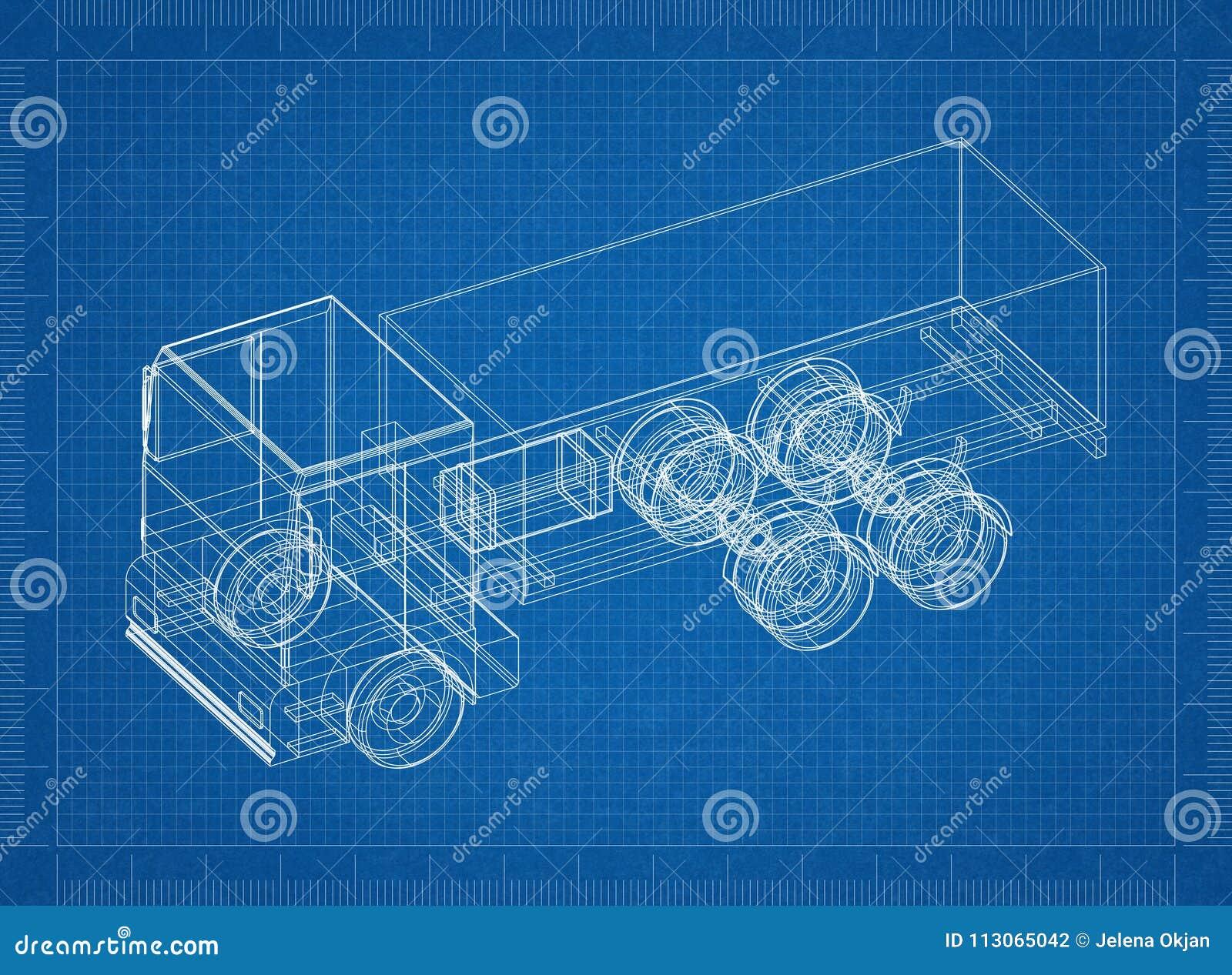Truck 3d blueprint stock illustration illustration of highway truck 3d blueprint highway cargo royalty free illustration malvernweather Gallery