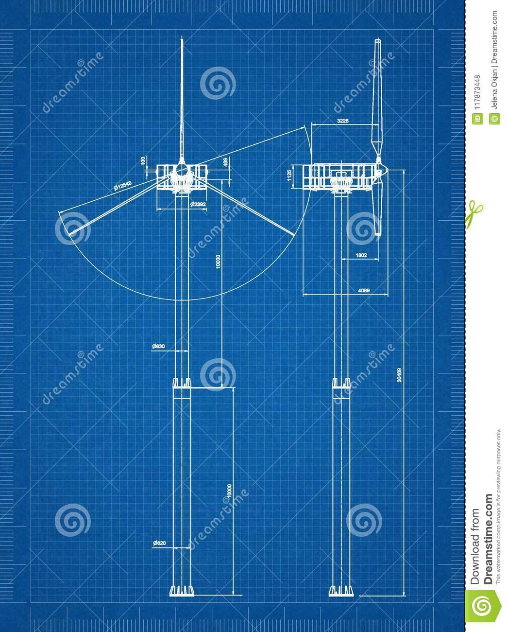 Wind Turbine Architect Blueprint Stock Illustration Schematic