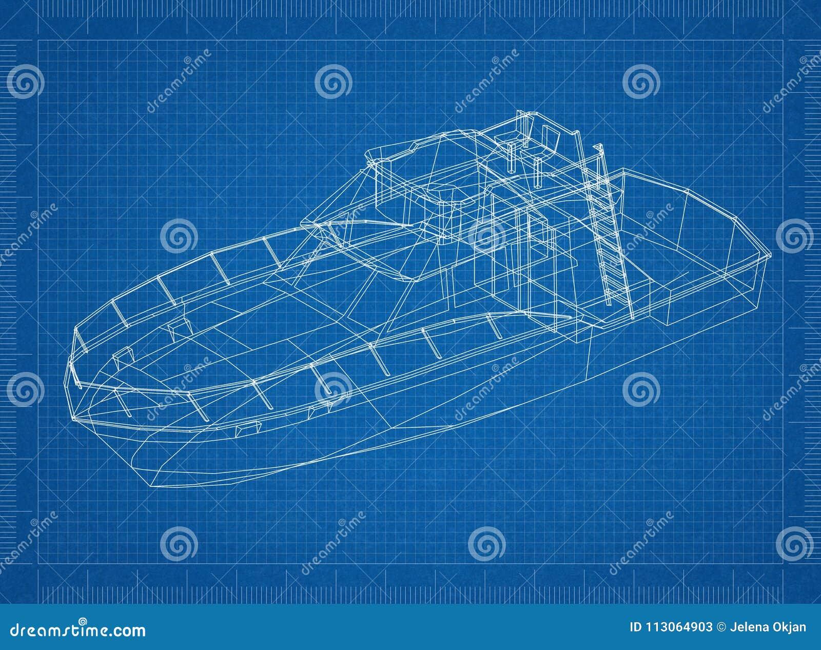 Yacht 3D blueprint