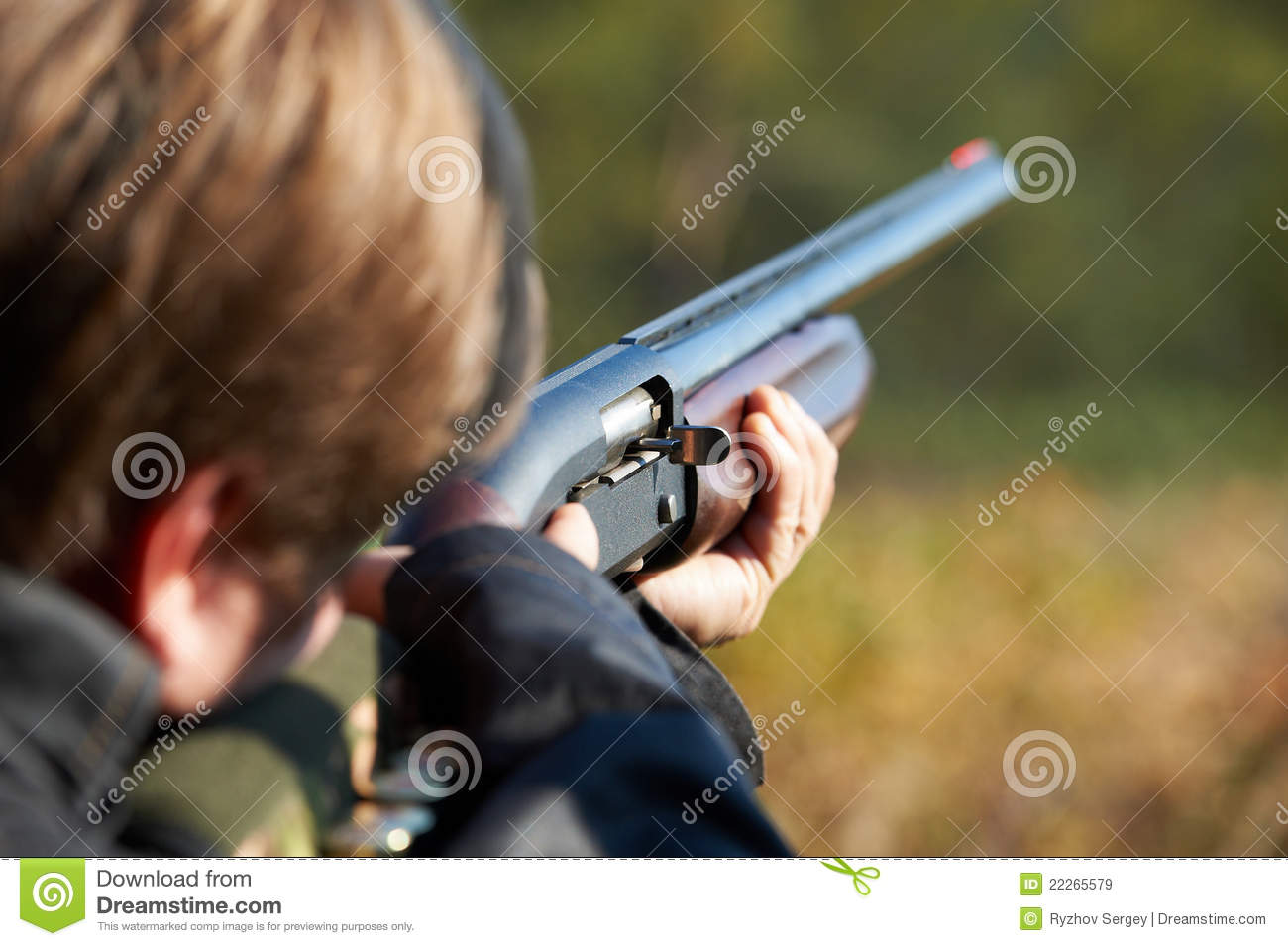 Download Shooter takes aim for shot stock image. Image of power - 22265579