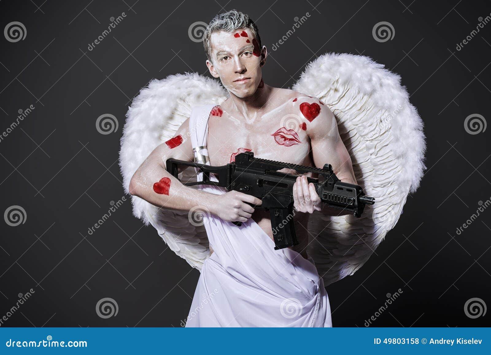 nude angel shot with arrow blood