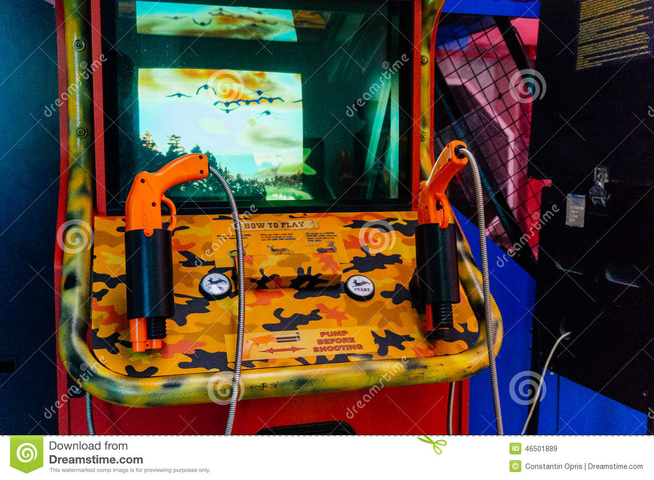 Shooting arcade game editorial stock image image 46501889 for Arcade fish shooting games