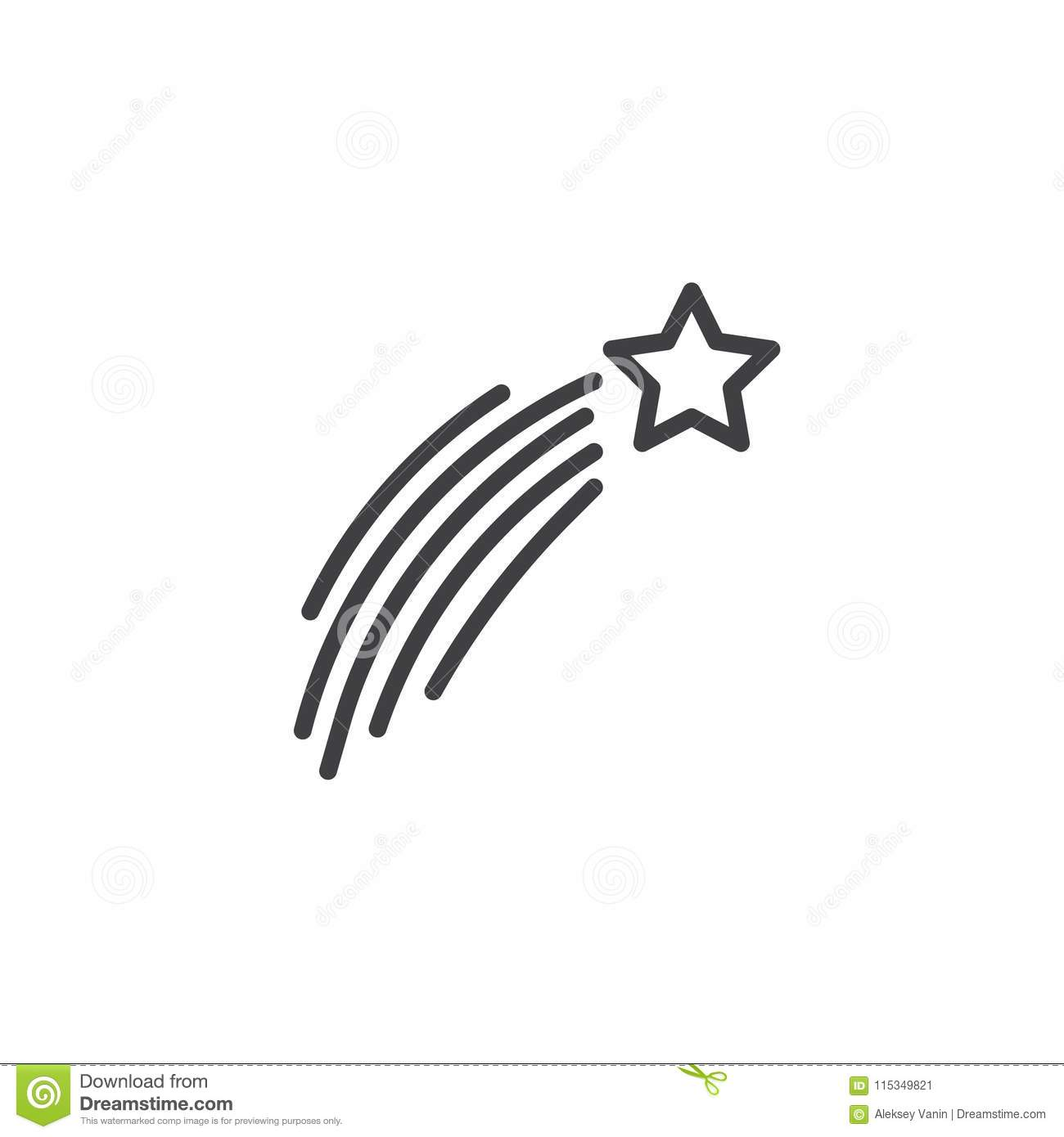 Download Shooting Christmas Star Outline Icon Stock Vector