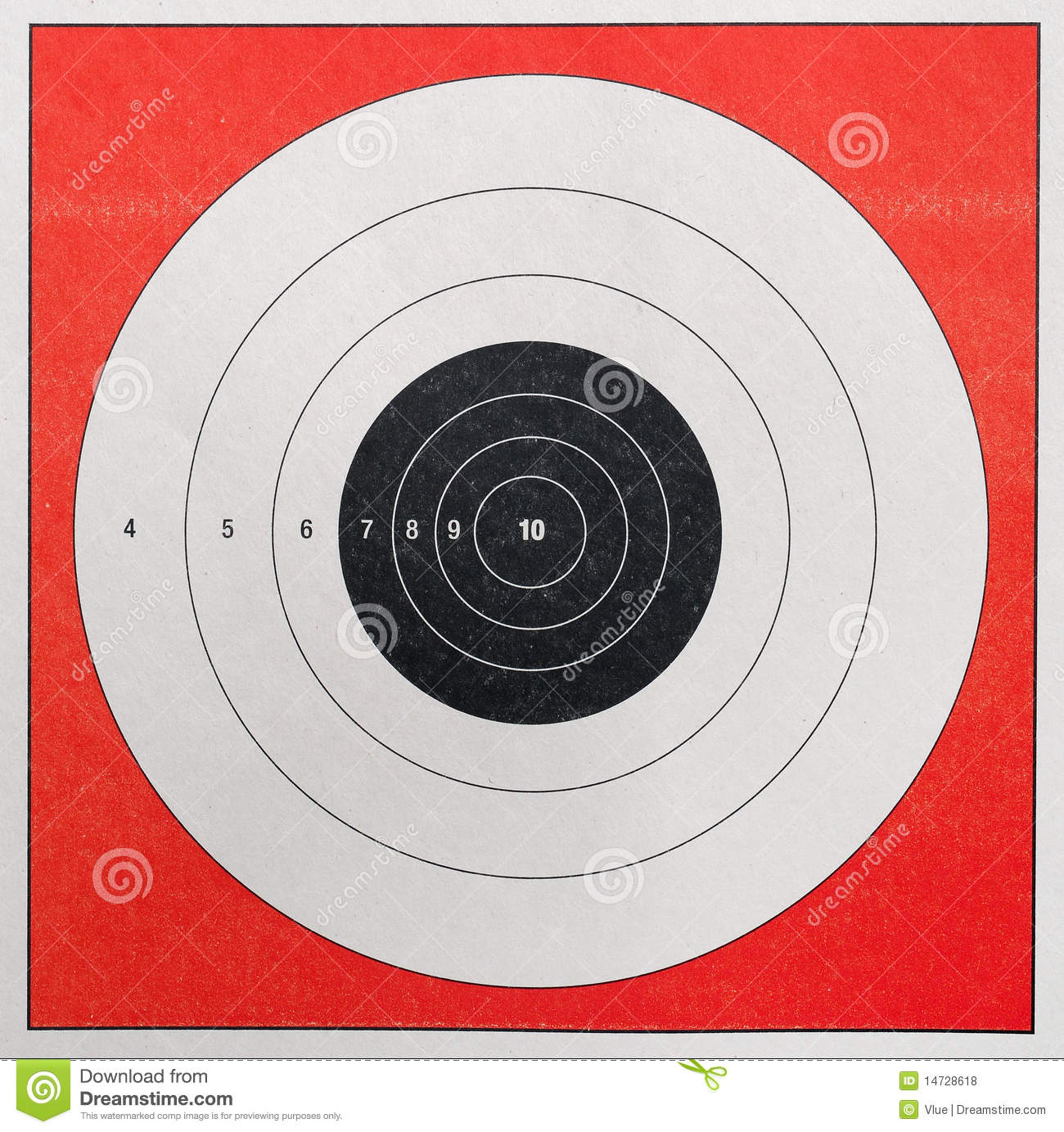 Closeup of a practice target used for shooting.