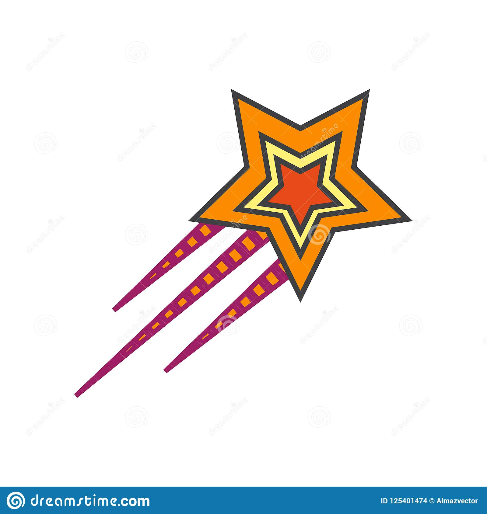Shooting Star Icon Vector Sign And Symbol Isolated On White Back