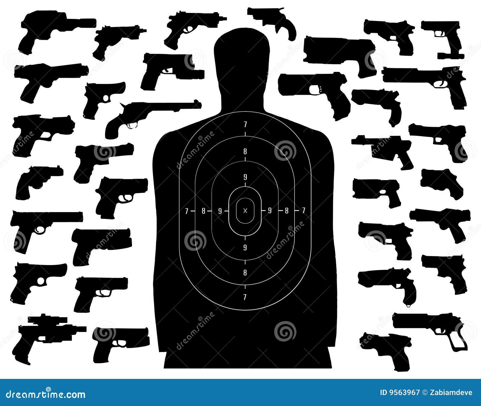 Shooting target and guns