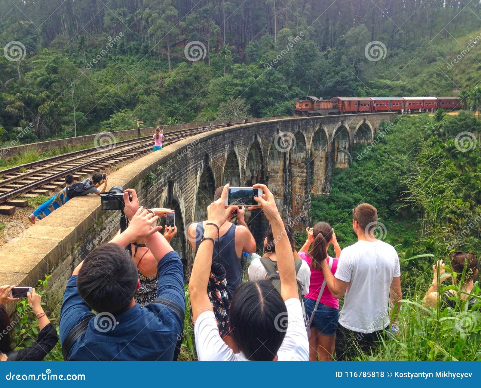 Shooting a train on Nine Arch Brige Ella Town