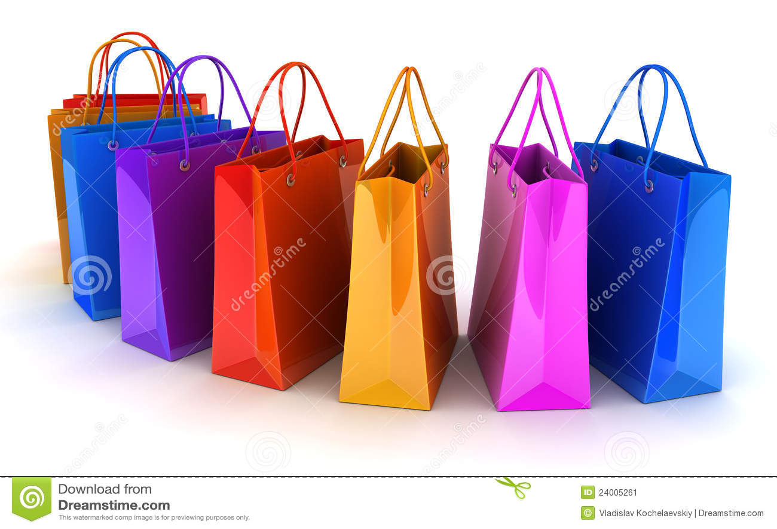 Shop Bag Row Stock Image - Image: 24005261