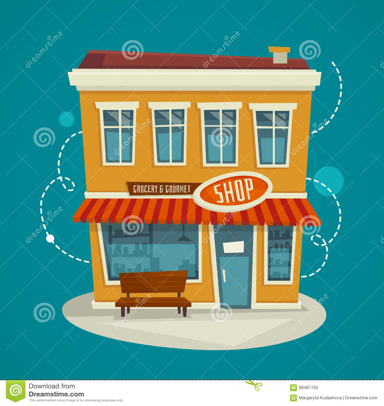Shop Building Front View Vector Cartoon Illustration