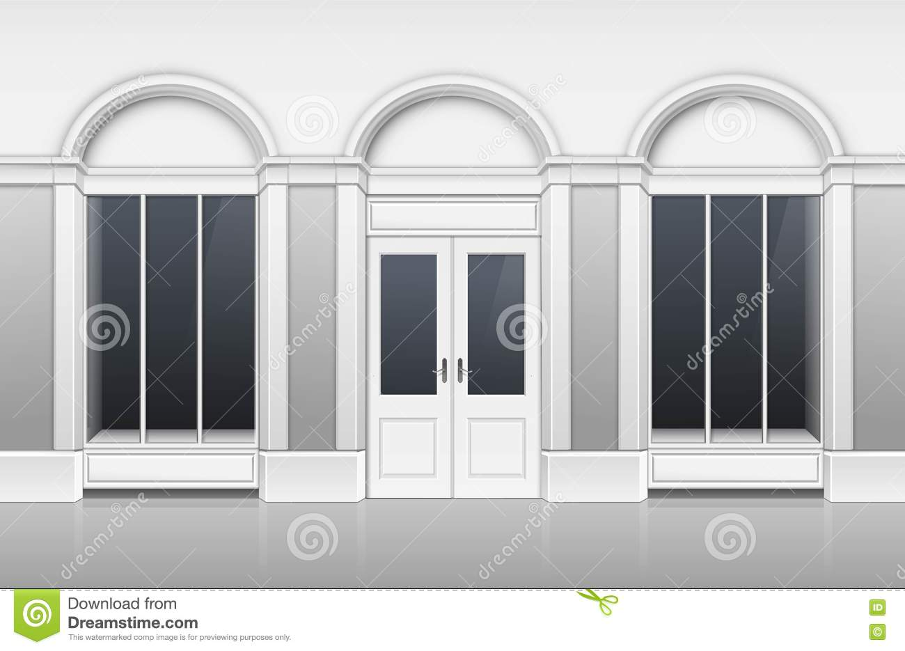 Shop Building With Glass Showcase Closed Door Stock Vector