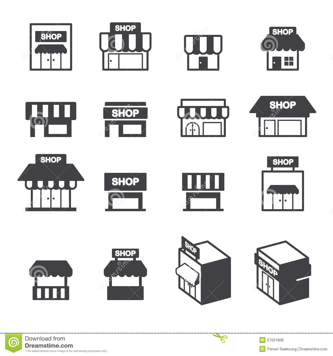 Shop building icon set stock vector illustration of cities 57521808 shop building icon set biocorpaavc Image collections