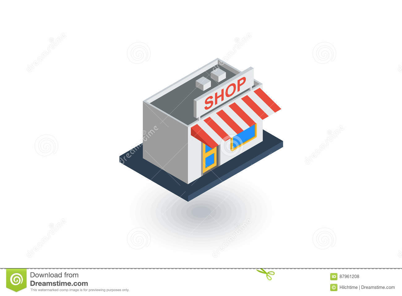 Shop building isometric flat icon. 3d vector